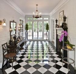 black & White tiled floor